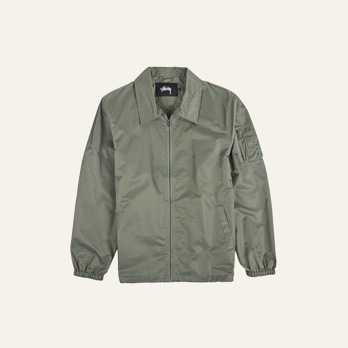 스투시 FLIGHT SATIN COACH JACKET-OLIVE