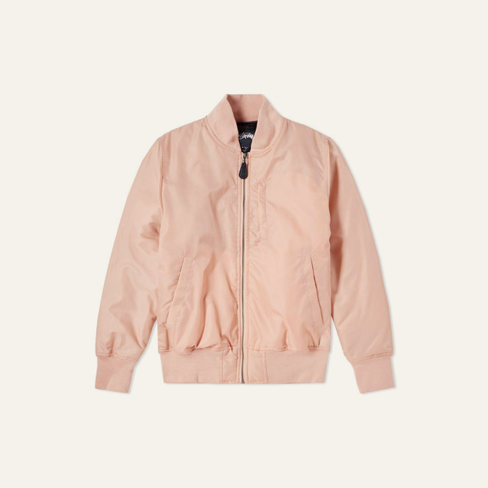 스투시 FLIGHT SATIN BOMBER JACKET-PEACH