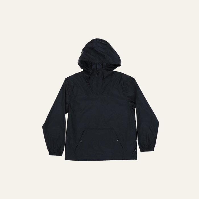 스투시 NYLON RIPSTOP PULLOVER JACKET-BLACK